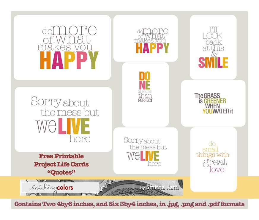 Project Life Quote cards Smiling Colors – Project Quote