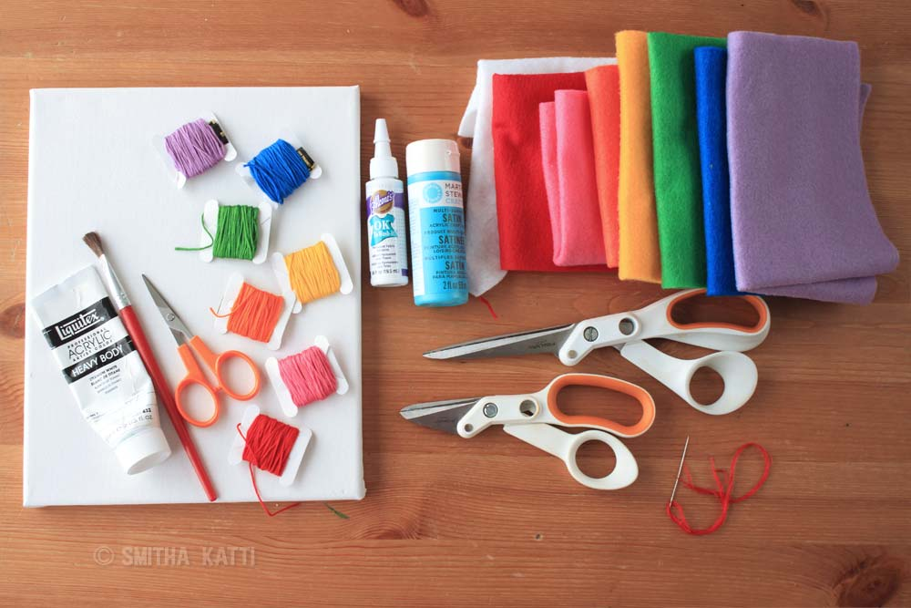 DIY Nursery Wall Art Felt Rainbow On Canvas Smitha Katti