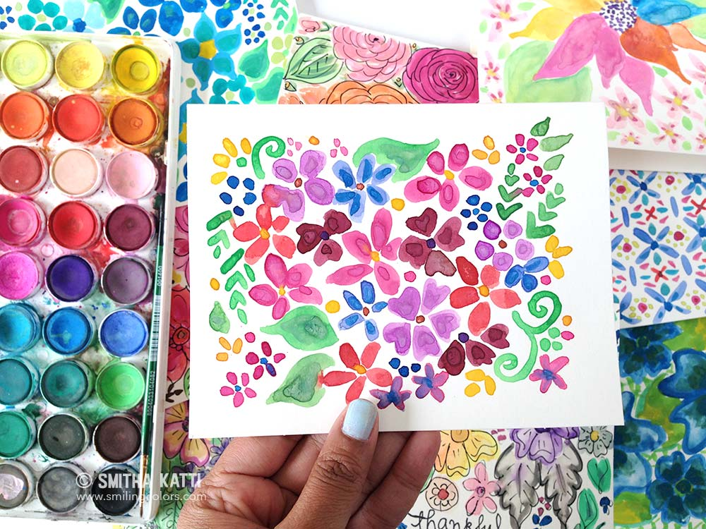 The 100 Day Project Watercoloring Smiling Colors