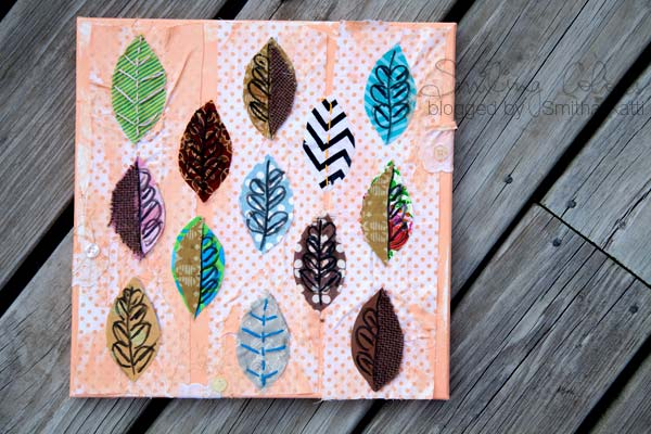 Mixed Media Canvas Fabric Leaves