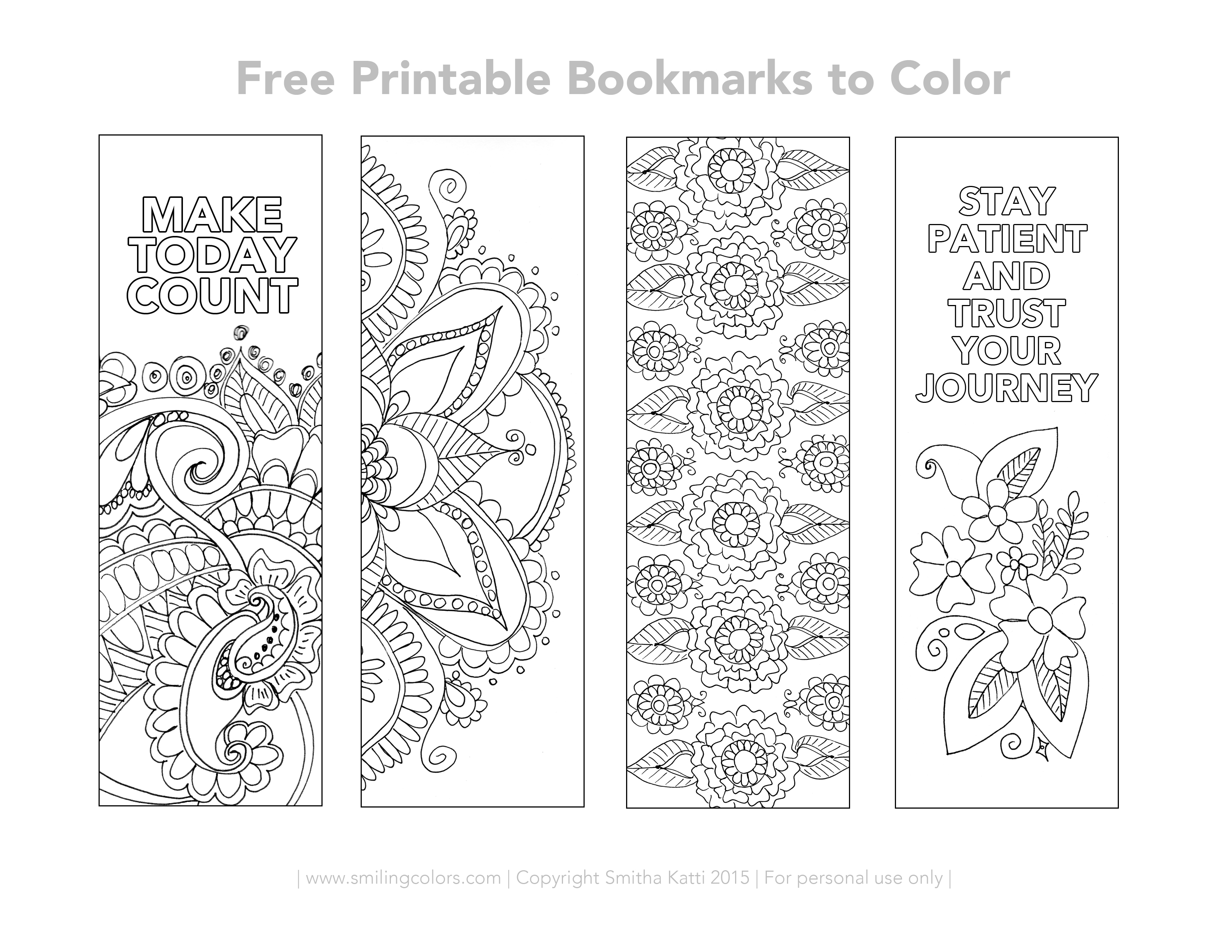 free printable bookmarks to color - smitha katti