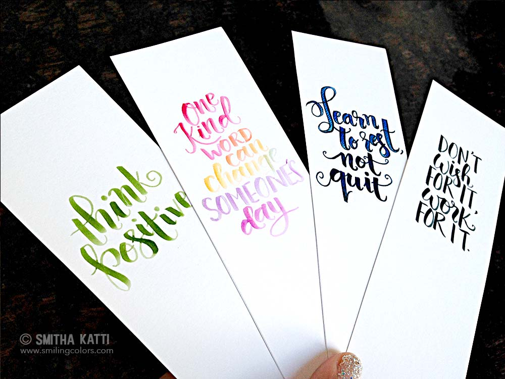 Printable Bookmarks With Hand Lettering Smitha Katti