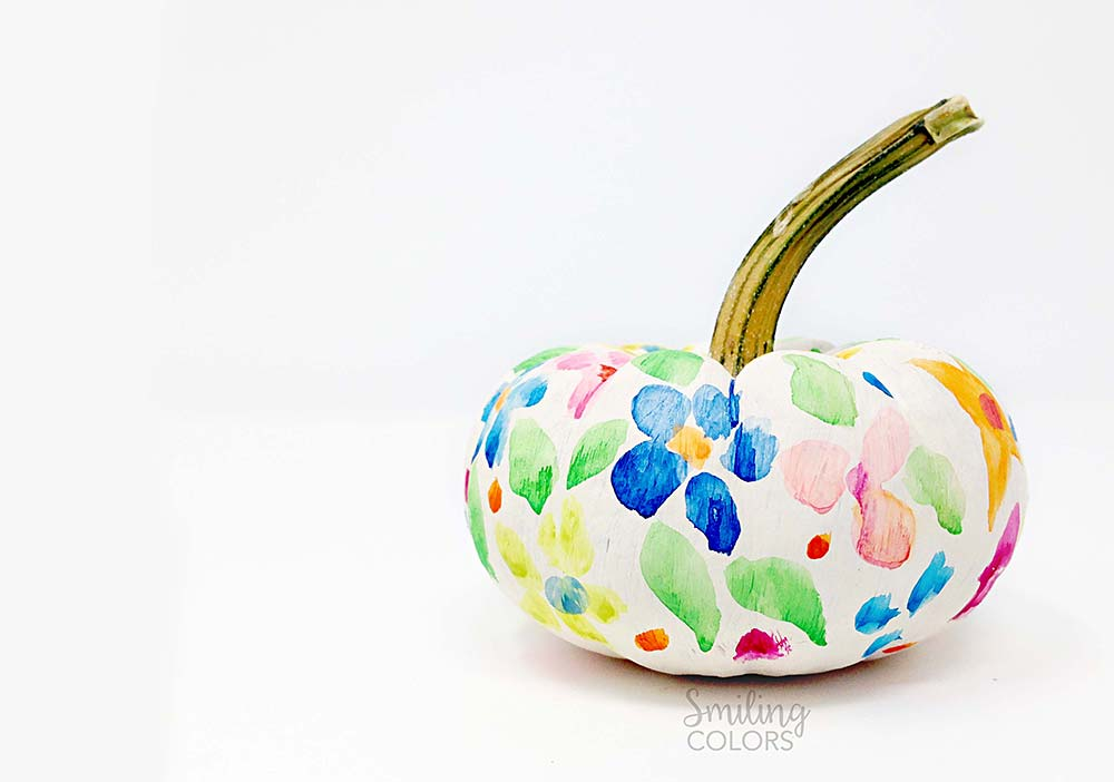 Floral painted pumpkin diy video tutorial Flower painted pumpkins