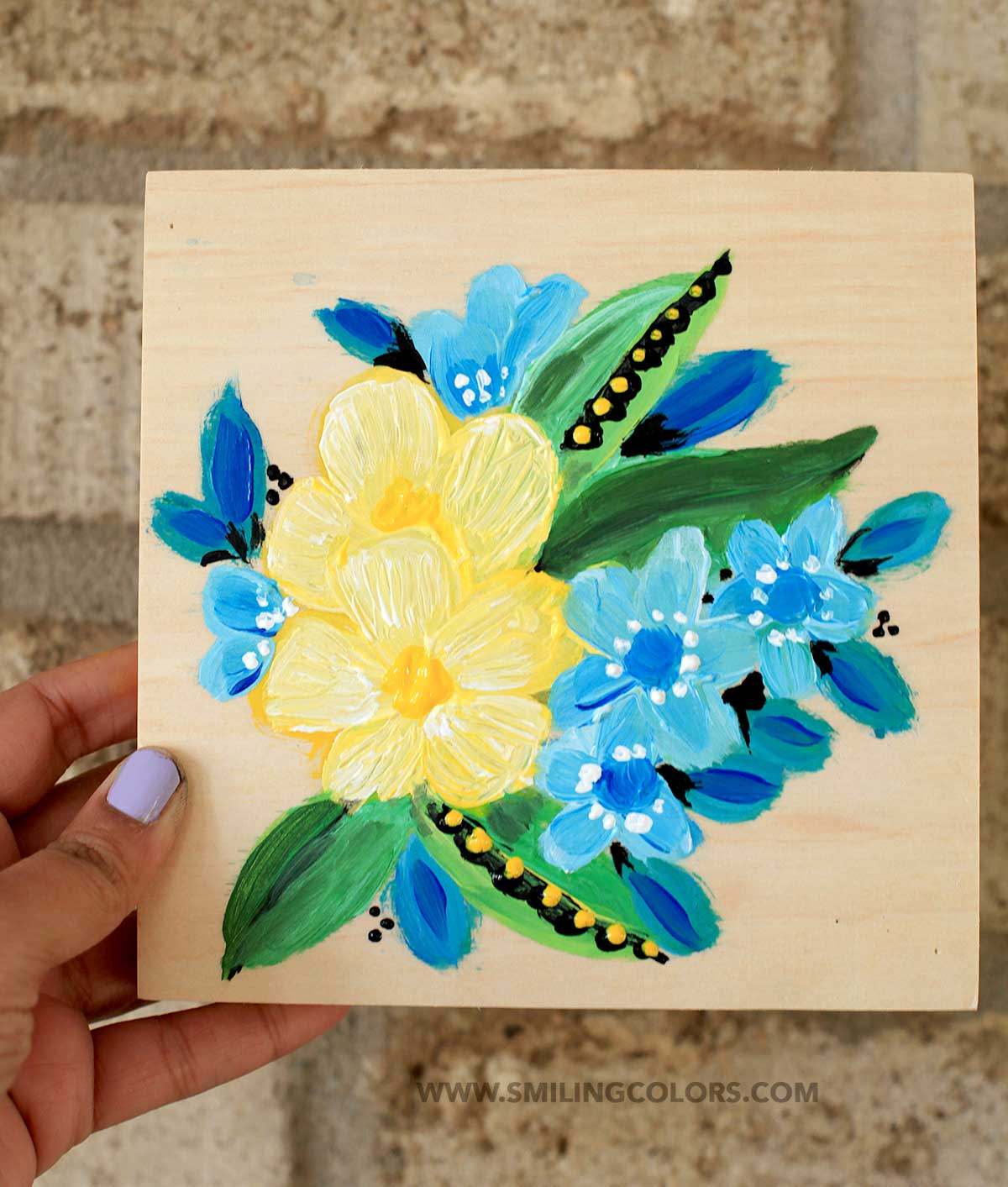 Painting acrylic flowers on a wood canvas smitha katti for Flower paintings on canvas